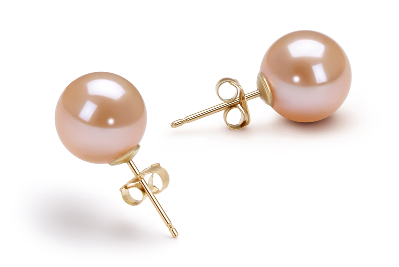 9-10mm AAAA Quality Freshwater Cultured Pearl Earring Pair in Pink - #2