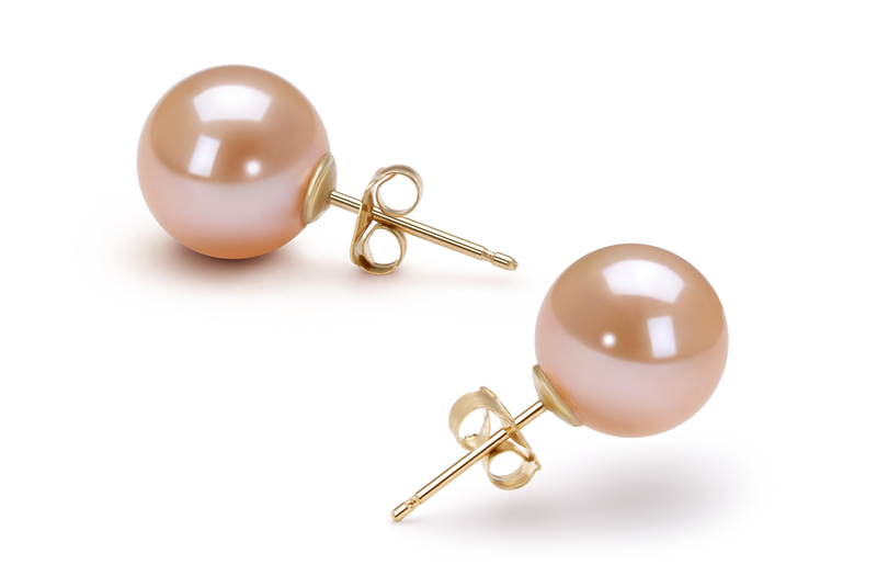 9-10mm AAAA Quality Freshwater Cultured Pearl Earring Pair in Pink - #3