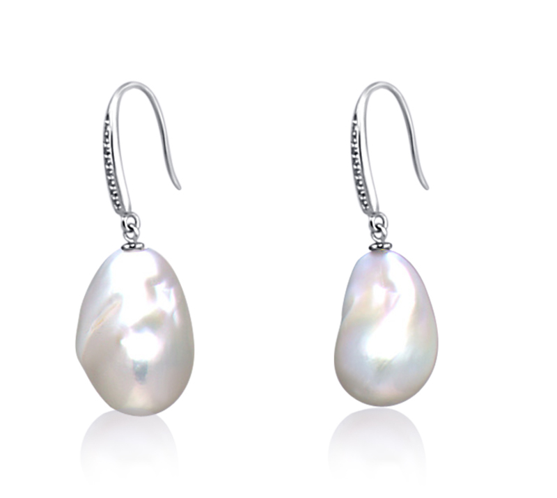 12-13mm AA+ Quality Freshwater - Edison Cultured Pearl Earring Pair in White - #1