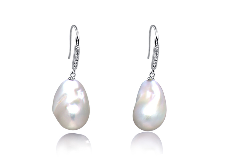 12-13mm AA+ Quality Freshwater - Edison Cultured Pearl Earring Pair in White - #2
