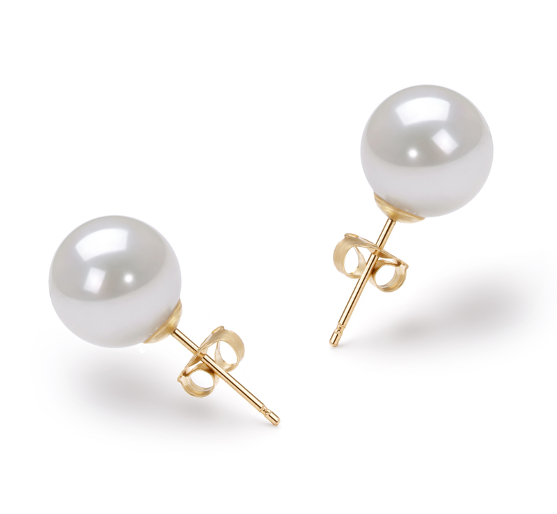 8.5-9mm AAA Quality Japanese Akoya Cultured Pearl Earring Pair in White - #1