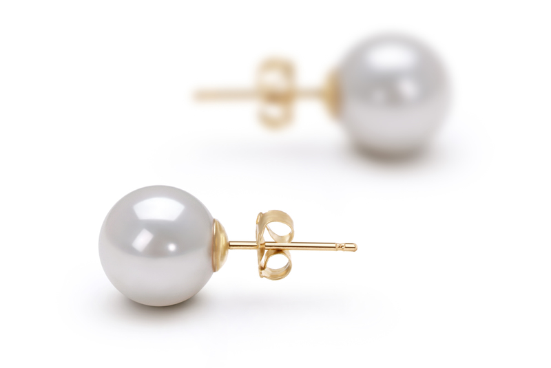 8.5-9mm AAA Quality Japanese Akoya Cultured Pearl Earring Pair in White - #3