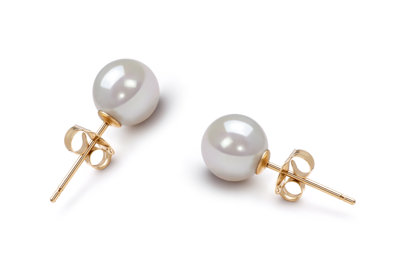6-7mm AA Quality Japanese Akoya Cultured Pearl Earring Pair in White - #2