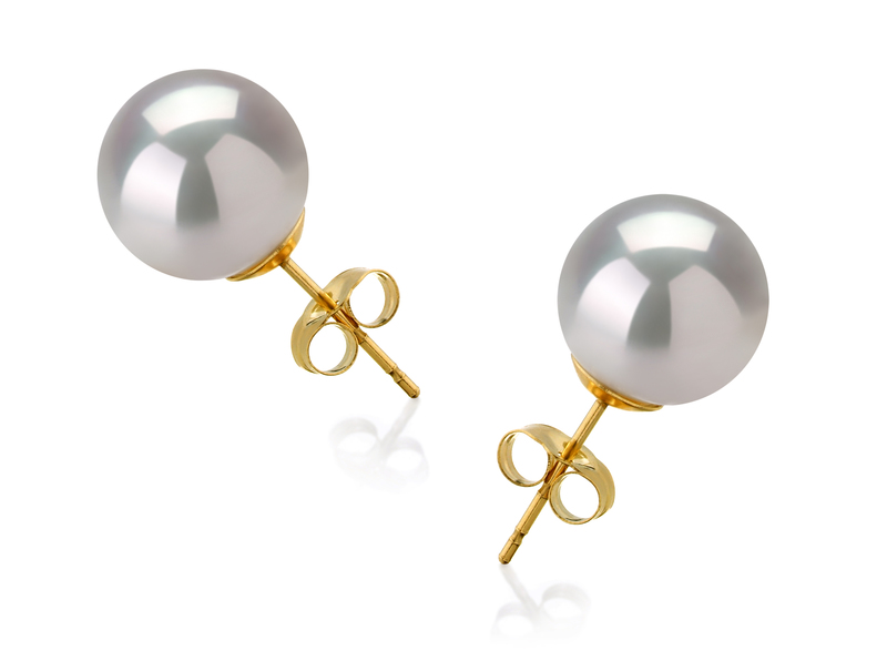 10-11mm AAA Quality South Sea Cultured Pearl Earring Pair in White - #2