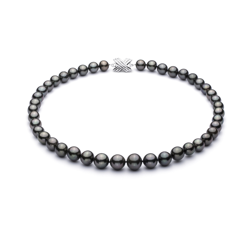 9.5-11mm AA+ Quality Tahitian Cultured Pearl Necklace in Black - #1