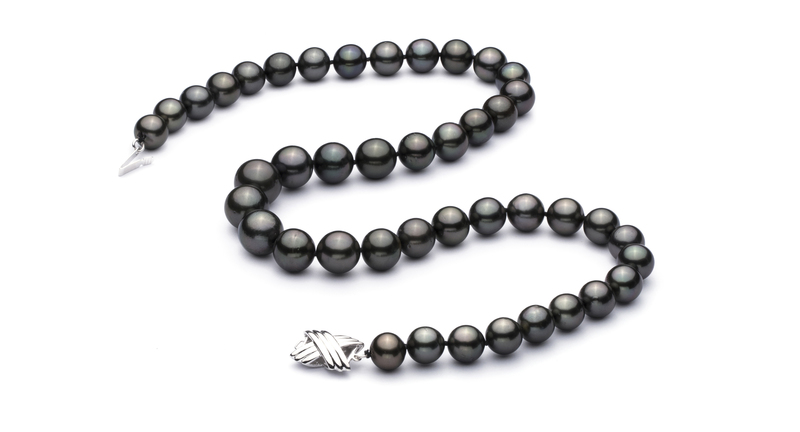 9.5-11mm AA+ Quality Tahitian Cultured Pearl Necklace in Black - #2