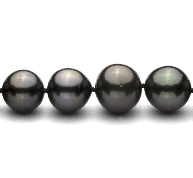9.5-11mm AA+ Quality Tahitian Cultured Pearl Necklace in Black - #3