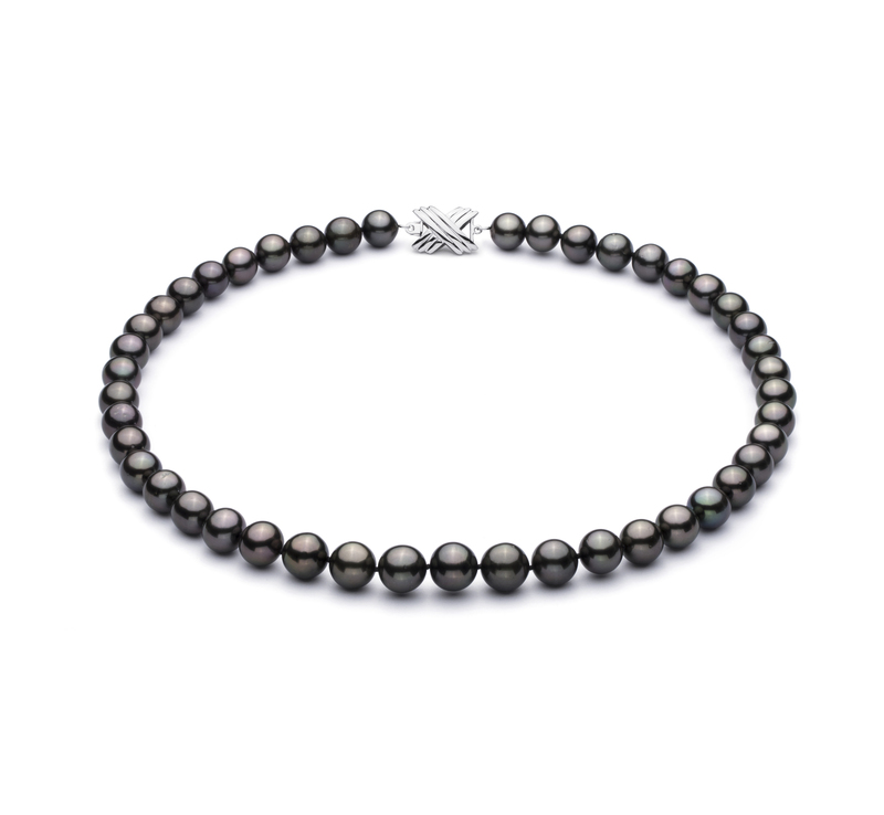 9.2-10.9mm AAA Quality Tahitian Cultured Pearl Necklace in Black - #1