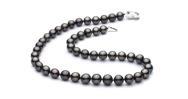 9.2-10.9mm AAA Quality Tahitian Cultured Pearl Necklace in Black - #2