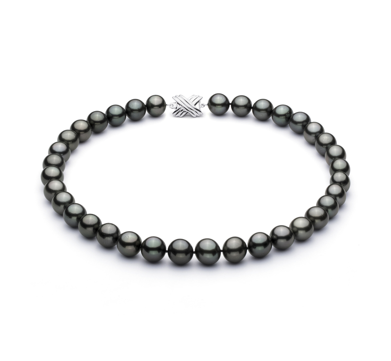 11.3-12.2mm AAA Quality Tahitian Cultured Pearl Necklace in Black - #1