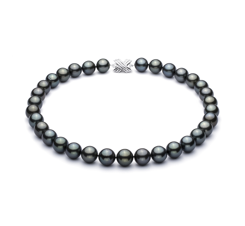 12-12.9mm AAA Quality Tahitian Cultured Pearl Necklace in Black - #1