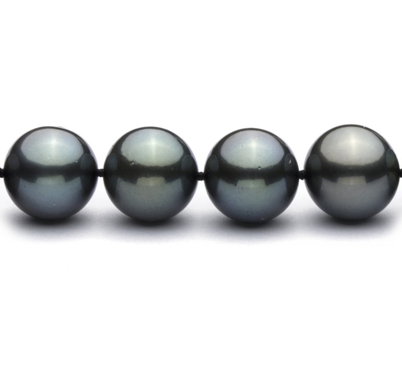 12-12.9mm AAA Quality Tahitian Cultured Pearl Necklace in Black - #3