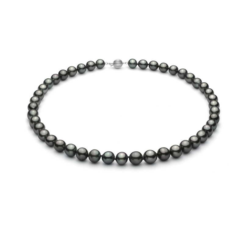 8-10mm AA+ Quality Tahitian Cultured Pearl Necklace in Black - #1