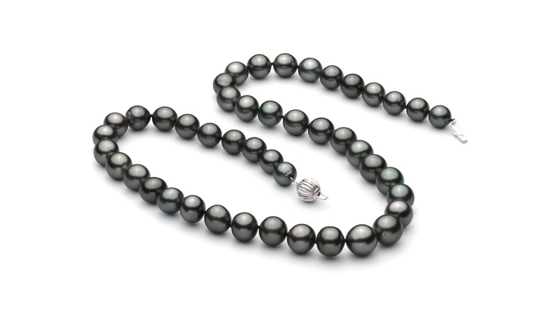 8-10mm AA+ Quality Tahitian Cultured Pearl Necklace in Black - #2