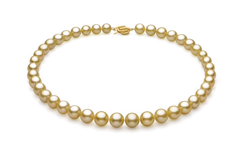 9-11.8mm AAA Quality South Sea Cultured Pearl Necklace in Gold - #1