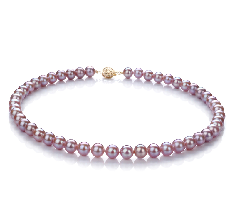 7.5-8mm AAA Quality Freshwater Cultured Pearl Necklace in Lavender - #1