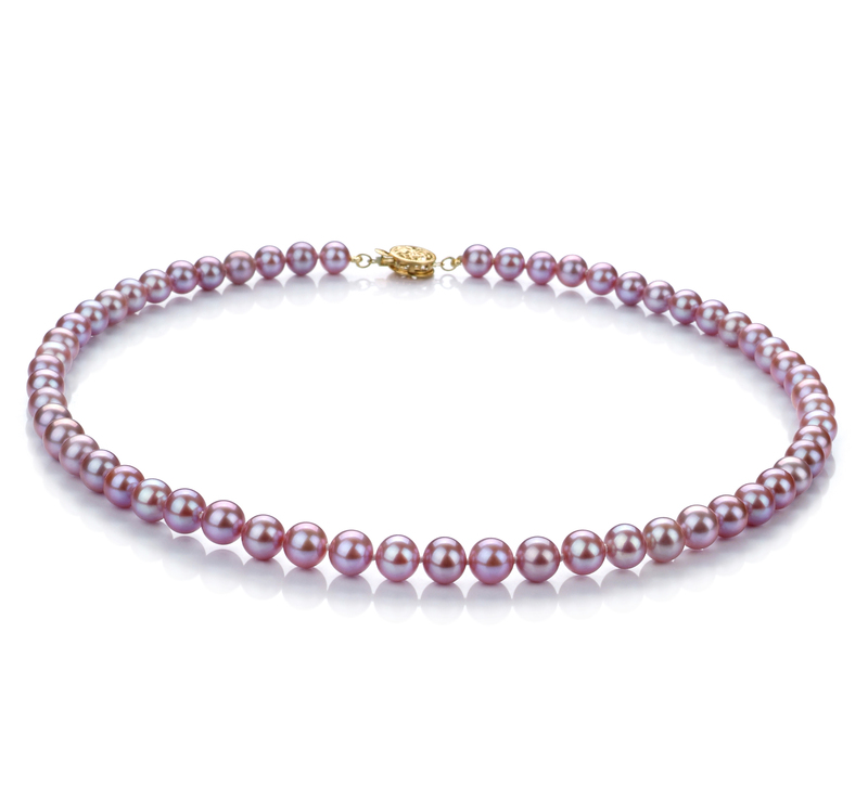 6-7mm AAA Quality Freshwater Cultured Pearl Necklace in Lavender - #1