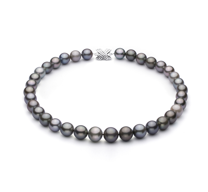 9.2-13.9mm AA+ Quality Tahitian Cultured Pearl Necklace in Multicolor - #1