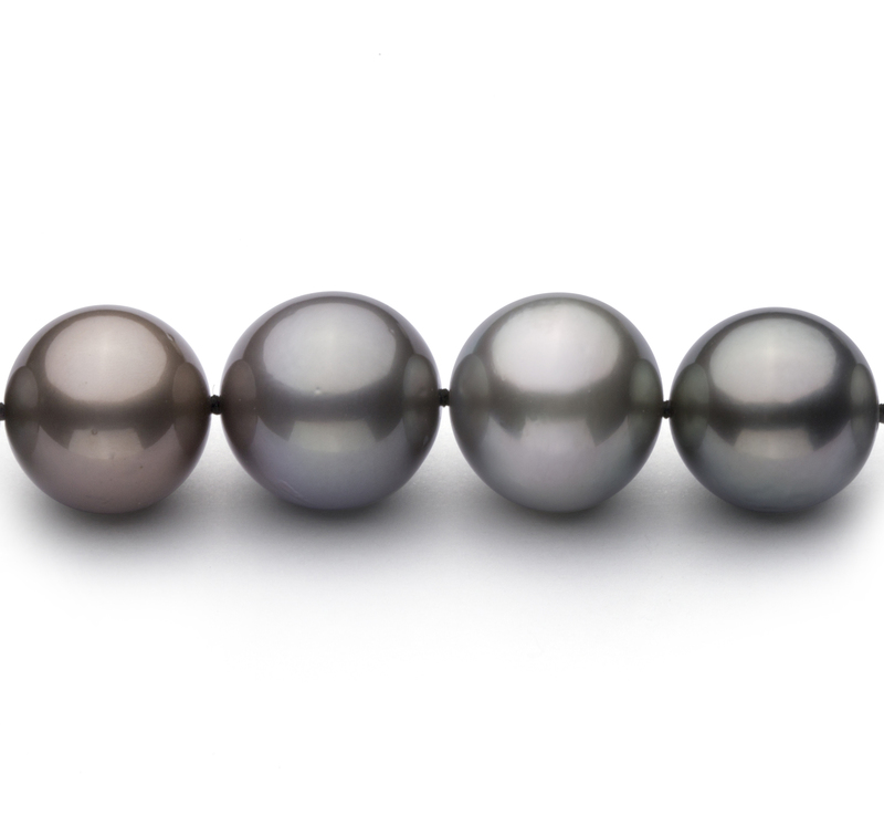 9.2-13.9mm AA+ Quality Tahitian Cultured Pearl Necklace in Multicolor - #3