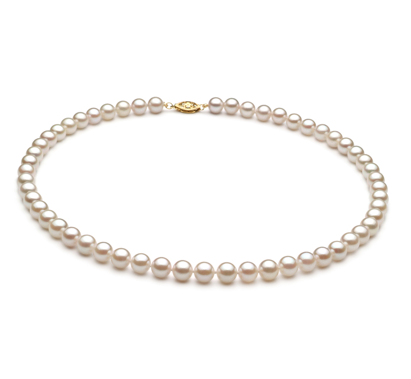 6-7mm A+ Quality Chinese Akoya Cultured Pearl Necklace in White - #1