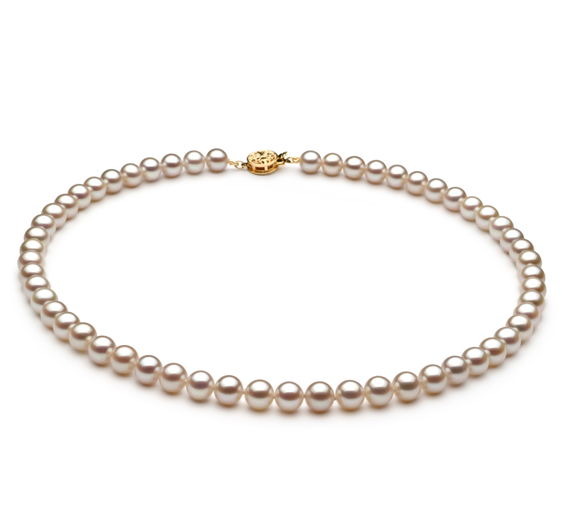 6-7mm AAAA Quality Freshwater Cultured Pearl Necklace in White - #1