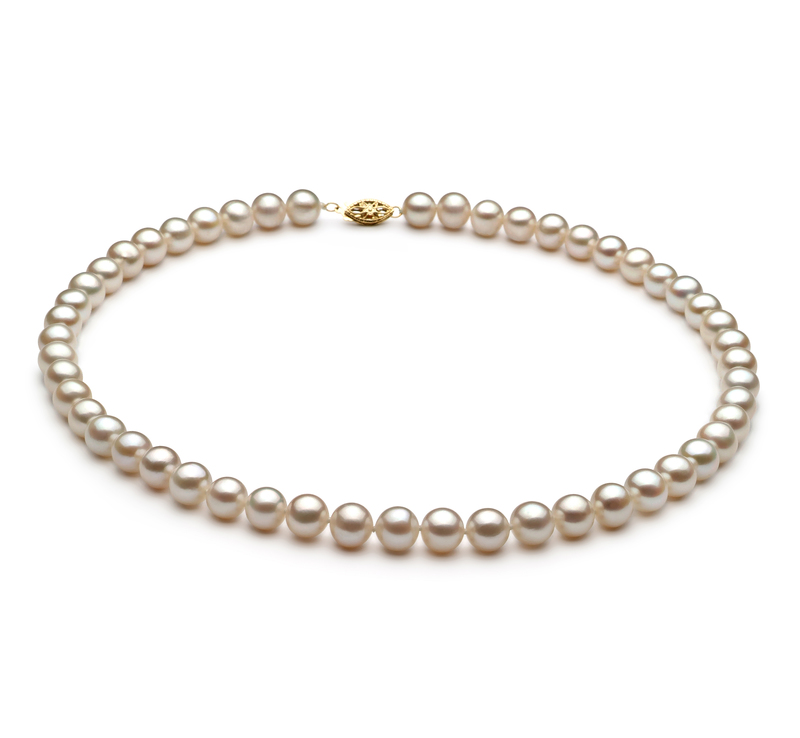 7.5-8.5mm AA Quality Freshwater Cultured Pearl Necklace in White - #1