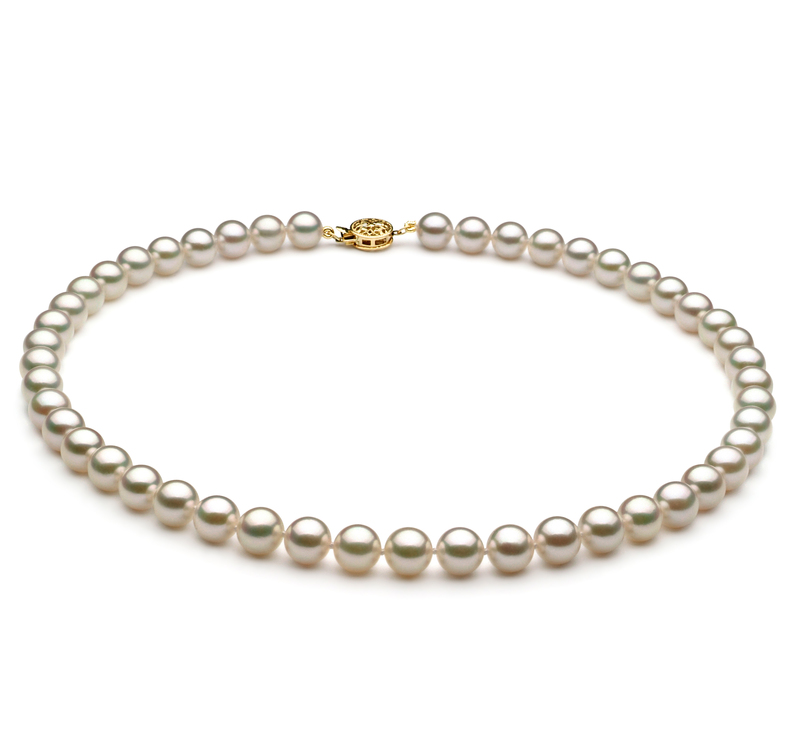 7.5-8mm AAA Quality Japanese Akoya Cultured Pearl Necklace in White - #1