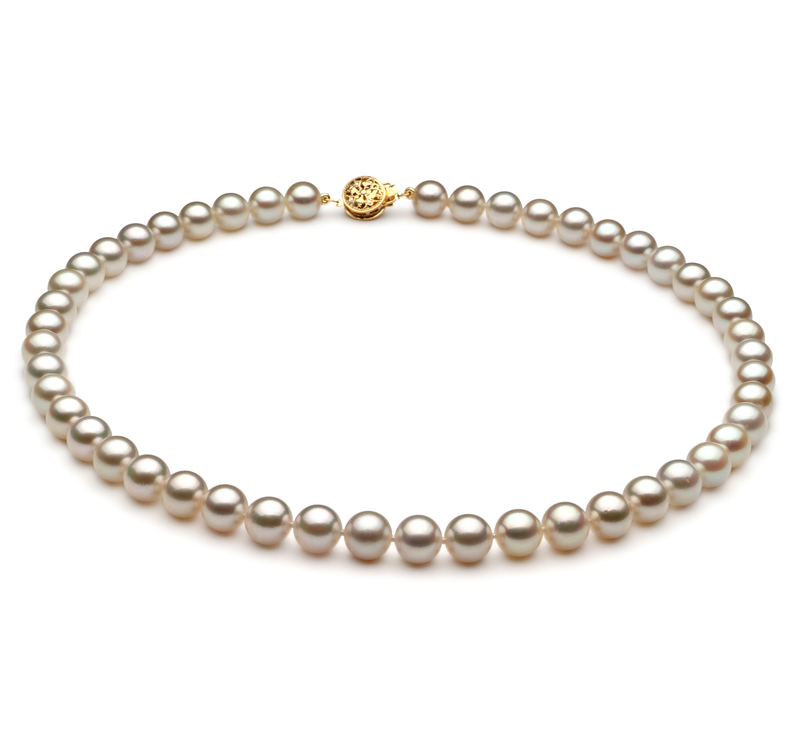 7-7.5mm AA Quality Japanese Akoya Cultured Pearl Necklace in White - #1