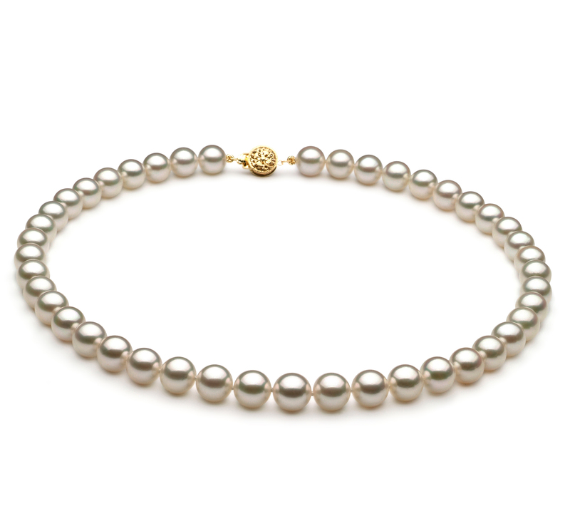 8.5-9mm AAA Quality Japanese Akoya Cultured Pearl Necklace in White - #1
