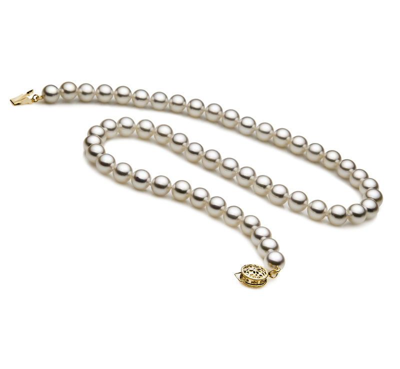 7-7.5mm AAA Quality Japanese Akoya Cultured Pearl Necklace in White - #2