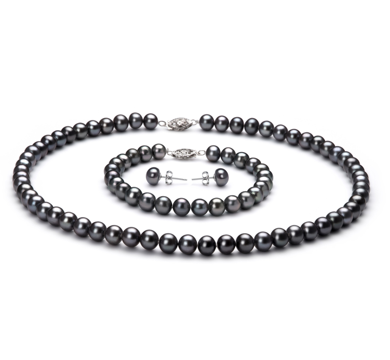 6-7mm AA Quality Freshwater Cultured Pearl Set in Black - #1