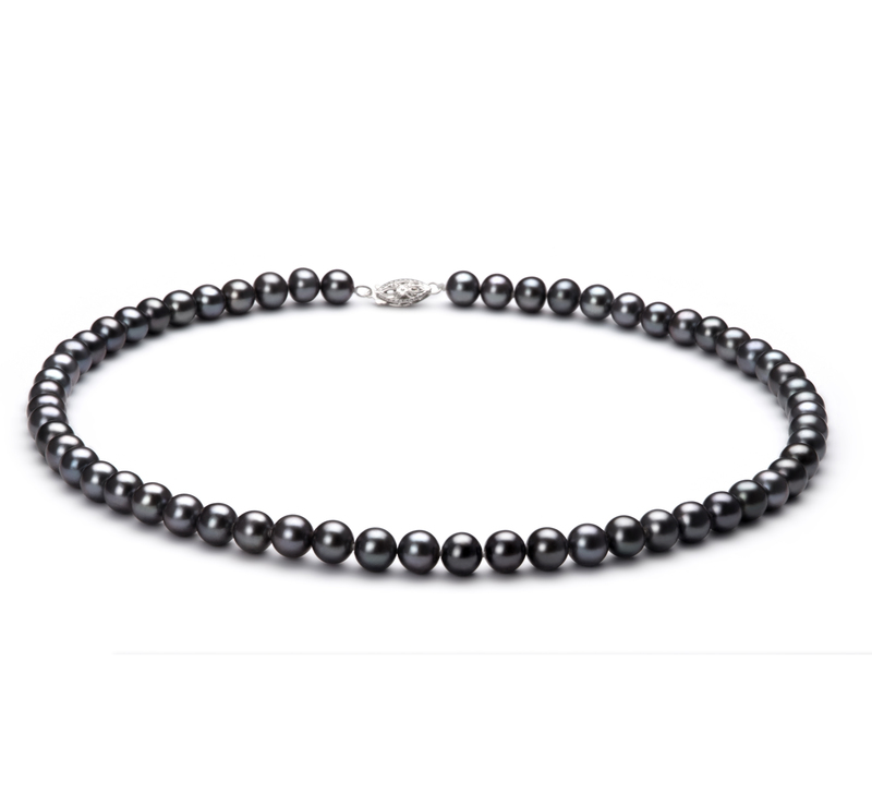 6-7mm AA Quality Freshwater Cultured Pearl Set in Black - #2