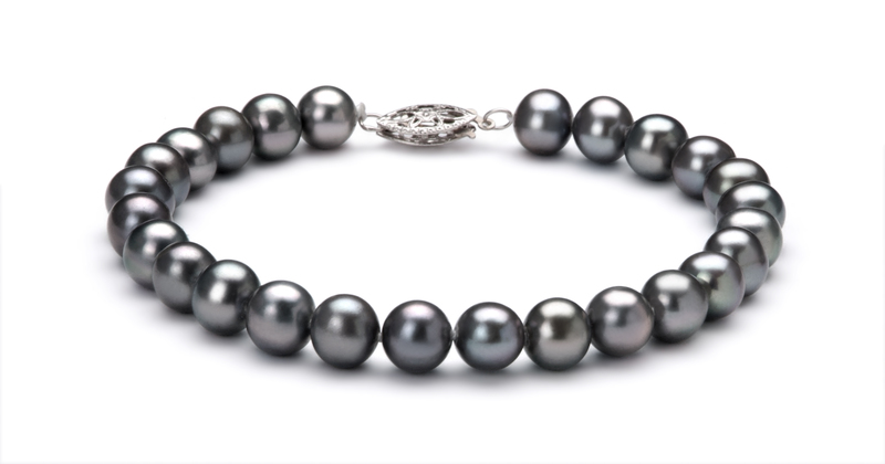 6-7mm AA Quality Freshwater Cultured Pearl Set in Black - #3