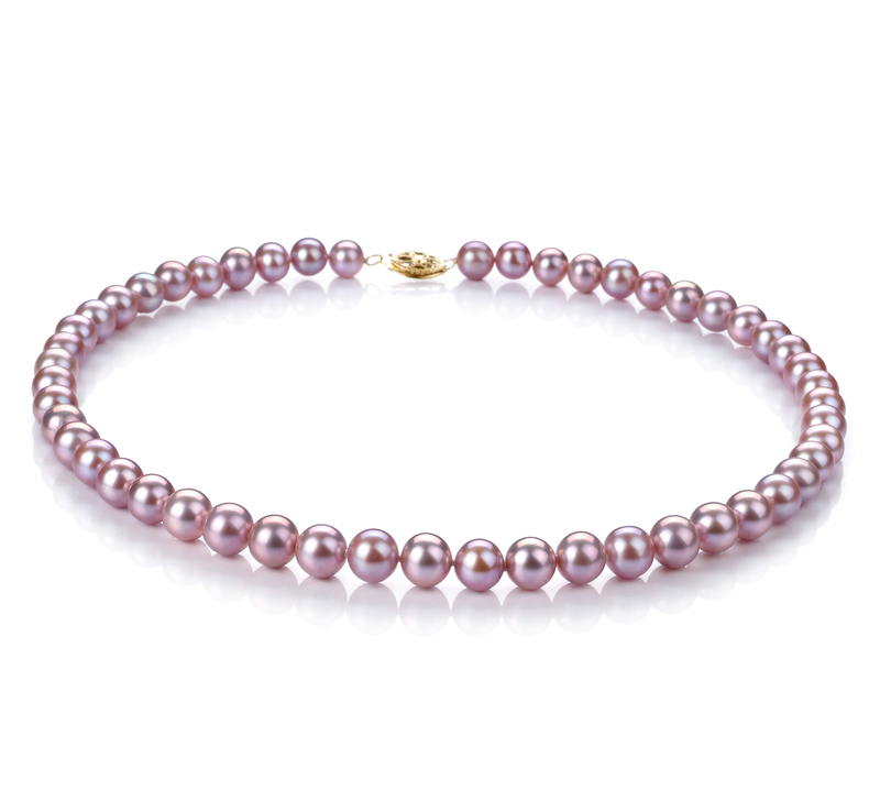7-8mm AA Quality Freshwater Cultured Pearl Set in Lavender - #3