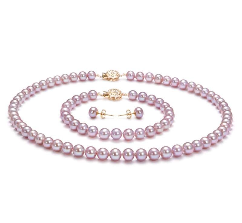 6-6.5mm AAA Quality Freshwater Cultured Pearl Set in Lavender - #1