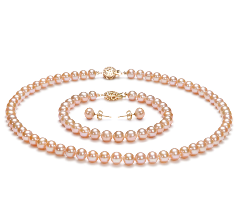 6-7mm AAA Quality Freshwater Cultured Pearl Set in Pink - #1
