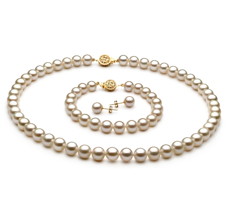 7-8mm AAAA Quality Freshwater Cultured Pearl Set in White - #1