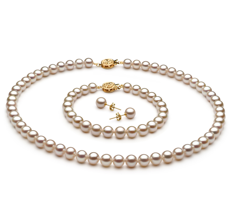 6-7mm AAAA Quality Freshwater Cultured Pearl Set in White - #1