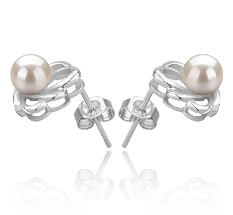 5-6mm AAAA Quality Freshwater Cultured Pearl Earring Pair in Princess White - #2