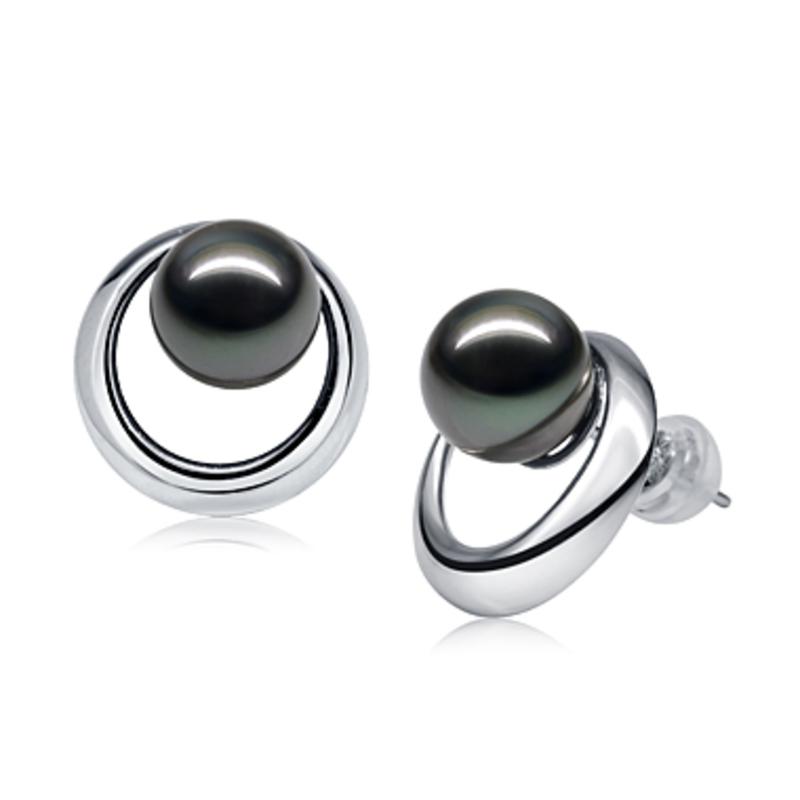 9-10mm AAA Quality Tahitian Cultured Pearl Earring Pair in Rising Sun Black - #3