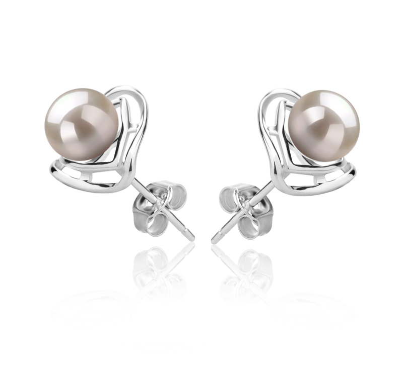 6-7mm AAAA Quality Freshwater Cultured Pearl Earring Pair in Rowan White - #3