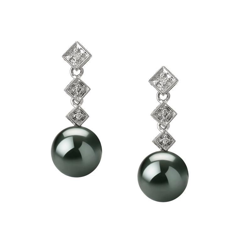 8-9mm AAA Quality Tahitian Cultured Pearl Earring Pair in Rozene Black - #1