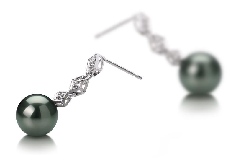 8-9mm AAA Quality Tahitian Cultured Pearl Earring Pair in Rozene Black - #2