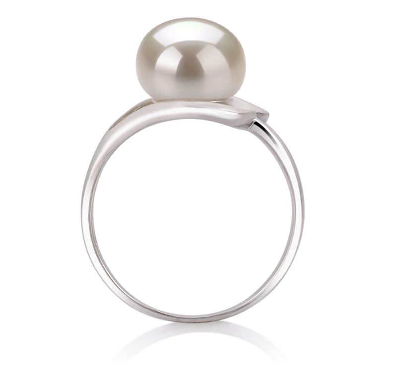 9-10mm AA Quality Freshwater Cultured Pearl Ring in Sadie White - #5