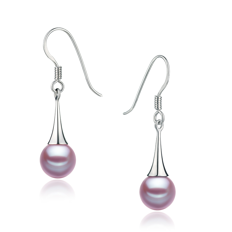 7-8mm AAAA Quality Freshwater Cultured Pearl Earring Pair in Sandra Lavender - #2