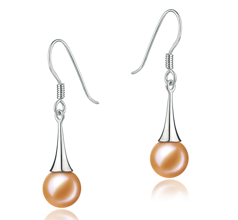 7-8mm AAAA Quality Freshwater Cultured Pearl Earring Pair in Sandra Pink - #1