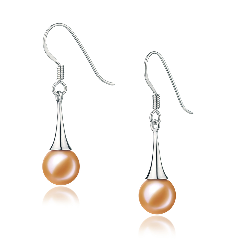 7-8mm AAAA Quality Freshwater Cultured Pearl Earring Pair in Sandra Pink - #2