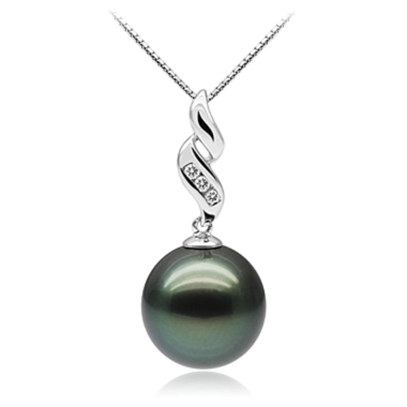 10-10.5mm AAA Quality Tahitian Cultured Pearl Pendant in Seductive Black - #1