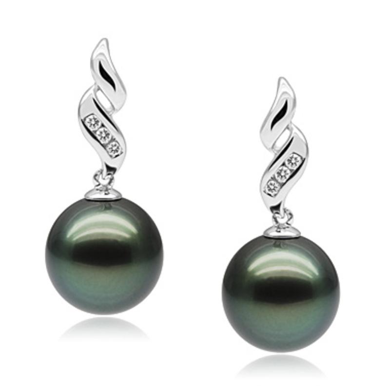 9-11mm AAA Quality Tahitian Cultured Pearl Set in Seductive Black - #2