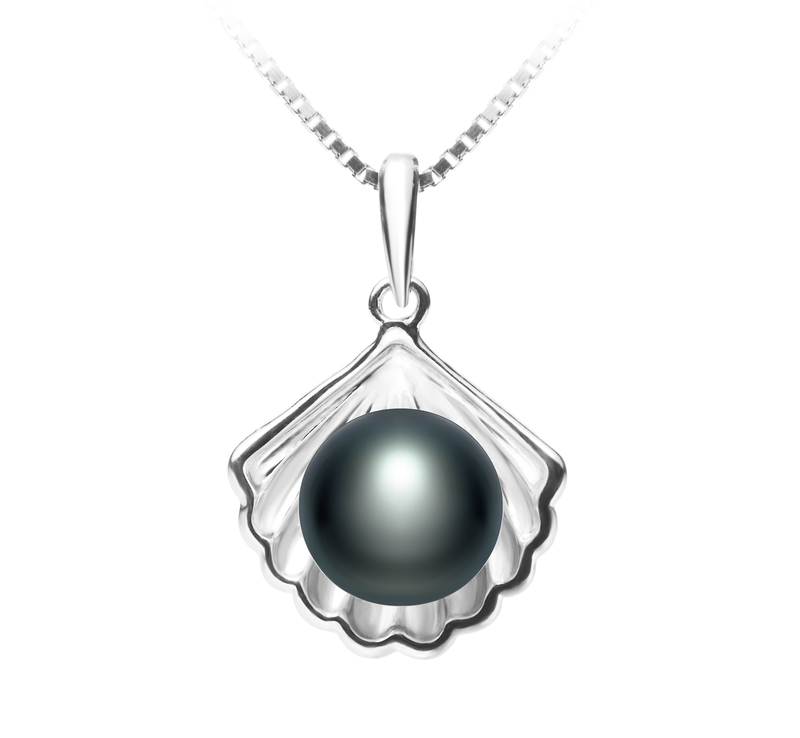 7-8mm AA Quality Freshwater Cultured Pearl Pendant in Shell Black - #1